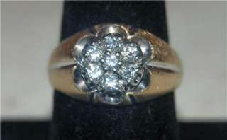 MENS 14K SOLID GOLD DIAMOND CLUSTER RING SIZE 10 3/4 ~6.5GR~