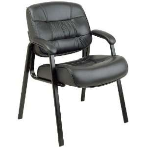 Deluxe Black Leather Executive Visitors Chair.