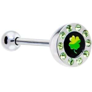 Green Gem Paved Half Dome Clover Logo Barbell Tongue Ring Jewelry