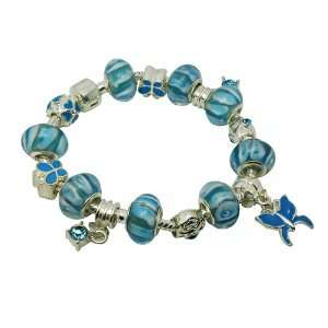 Blue Butterfly Murano Glass Beads Charms Bracelet Jewelry