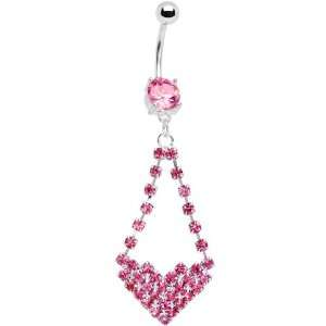 Pink Gem Cluster Heart Dangle Belly Ring Jewelry