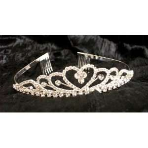 Shiny Crystal stone heart designed Tiara AMTL1102