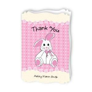 Pink Bunny   Personalized Baby Thank You Cards With