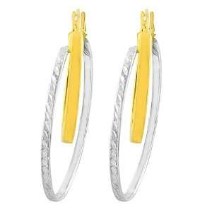 14 Karat Two tone Gold Double Oval Hoop Earrings Jewelry