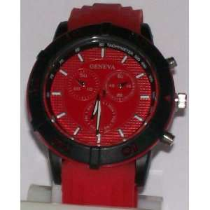 Geneva Classic Red Watch W/ Black Bezel & Silicone Band