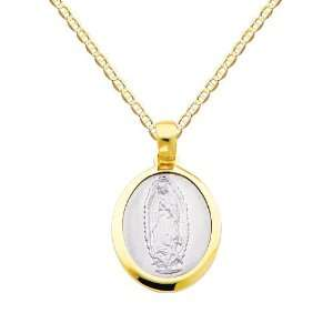 14K Yellow and White 2 Two Tone Gold Religious Our Lady of