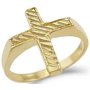 10   New Solid Ladies 14k Yellow Gold Diamond Cut Cross Ring Jewelry
