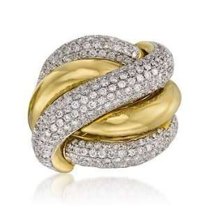 ct. t.w. Diamond Criss Cross Ring In 18kt Yellow Gold. Size 7 Jewelry