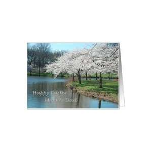 Happy Easter Mom & Dad White Tree Blossoms over Lake Card