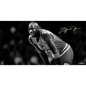 MICHAEL JORDAN SIGNED TRIBUTE 35x18 CANVAS LE/50 UDA
