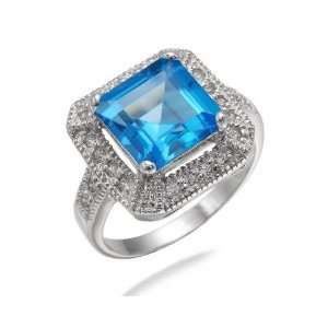 10MM Princess Cut Natural Swiss Blue Topaz Ring In Sterling Silver 3