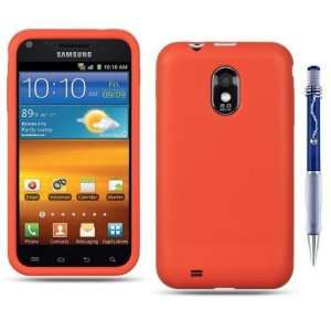 ORANGE RED Soft Silicone Rubber Phone Protector Cover Case for Samsung
