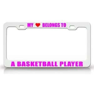 Metal Auto License Plate Frame Tag Holder, White/Pink Automotive