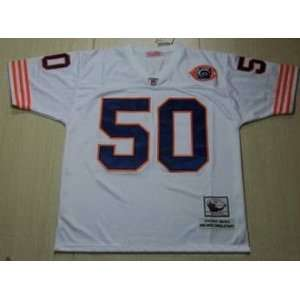 Bears #50 Mike Singletary White Throwback Football Jersey Size 56