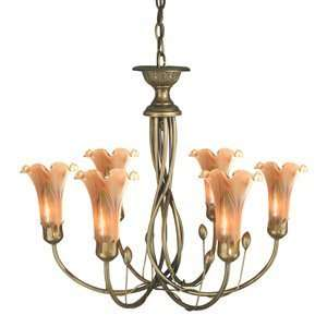Dale Tiffany TH70042 Favrile Art Glass 6 Light Lily Chandelier
