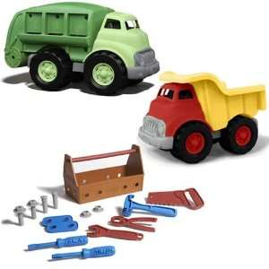 Green Toys Tool Set Plus Dump Truck and Recycle Truck Toys & Games
