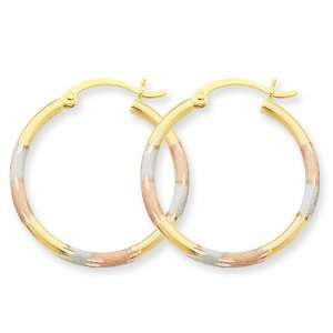 14k Tri color 2mm Diamond Cut Earrings West Coast Jewelry