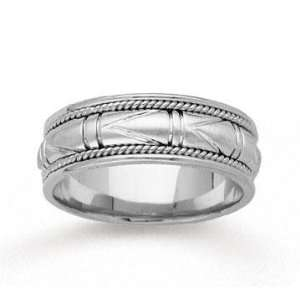 14k White Gold Special Elegant Hand Carved Wedding Band Jewelry
