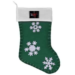 Felt Christmas Stocking Green Red Flame Dragonfly