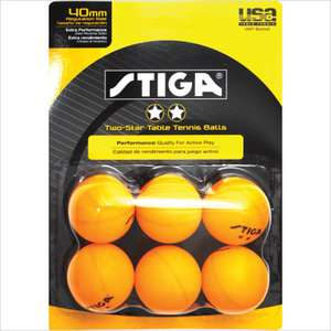 Stiga Two Star Orange Table Tennis Ball (Pack of 6) Game Room