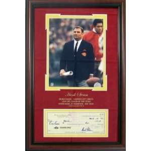 Hank Stram Autographed / Signed Framed Check w/ Kansas City Chiefs