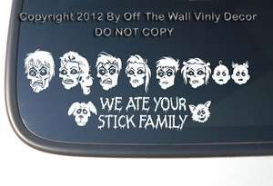Zombie Family Stick Figure Vinyl Car Decal Sticker