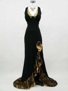 Black Backless Long Prom Ball Gown Evening Dress UK Size 12