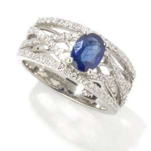 14K White Gold Sapphire & Diamond Criss Cross Ring Jewelry