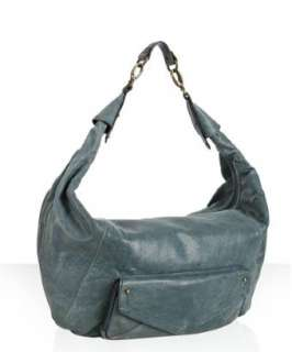 Hype prussian blue leather Drew top zip oversized hobo   up