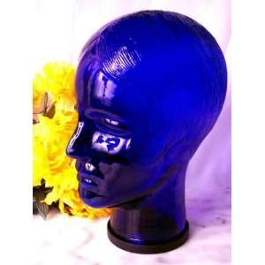 Blue Glass Mannequin Head WOMAN